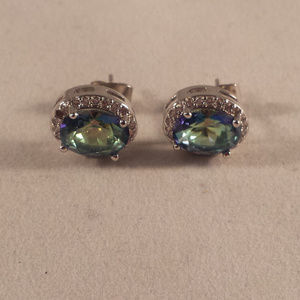Blue Mystical Topaz Zircon Halo Earrings 1.28tcw